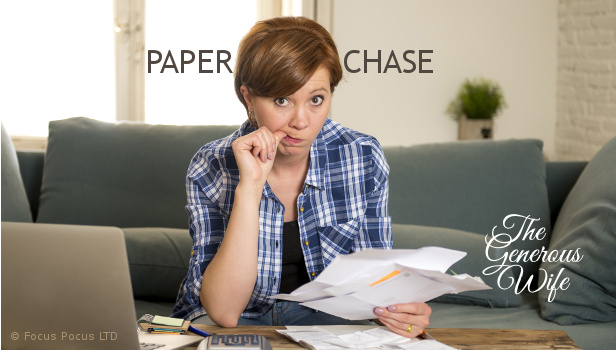 Paper Chase - Be kind to yourself and hubby. Organize your paperwork.