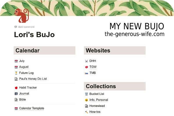 screen shot of my Bujo in Notion